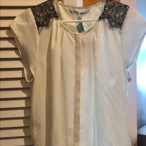 Brand New Lace Detail Short-Sleeve Blouse
